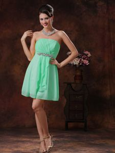 Mini-length Beading Strapless Ruched Apple Green Dama Gowns