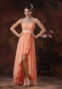 Belt Sweetheart Layers Orange Chiffon High-low Prom Dama Dress