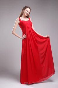 Hot Sale Straps Ruched Floor-length Red Chiffon Dress for Damas