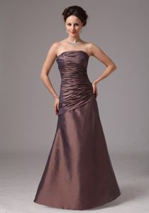 Ruched Strapless Brown Taffeta Floor Length Formal Dama Dresses