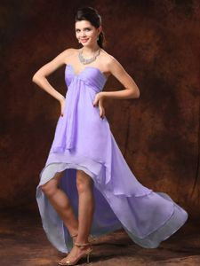 High-low Sweetheart Bead Lilac Chiffon Layers Quince Dama Gowns
