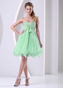 Beading Sweetheart Bowknot Sash Spring Green Short Dama Dress