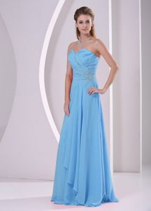 Sweetheart Beading Ruched Aqua Blue Zipper Up Dresses for Dama