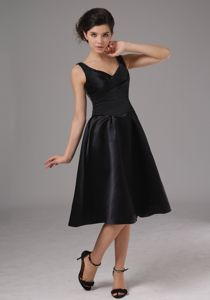 Short Straps Ruched Black Taffeta Zipper Up Quince Dama Gowns