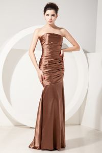 Mermaid Strapless Ruched Chocolate Taffeta Cocktail Dama Dress