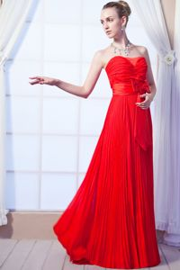 Bowknot Strapless Ruched Red Pleated Floor-length Dama Gowns