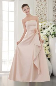 Lace Up Strapless Hand Made Flower Baby Pink Satin Dama Dress