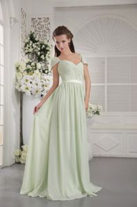 Chiffon Off Shoulder Brush Train Apple Green Party Dama Dresses