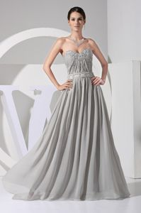Appliques Sweetheart Ruched Beading Gray Chiffon Dama Dresses