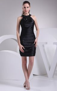 Mini-length Halter Top Beading and Ruches Black Dresses for Damas