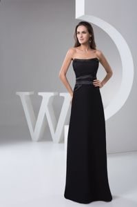 Simple Strapless Black Chiffon Floor-length Bridesmaid Dama Dress
