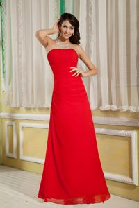 Strapless Ruched Zipper Up Floor-length Red Chiffon Dama Dress