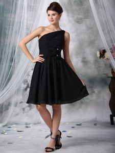 Hand Made Flower One Shoulder Ruched Black Dama Dress