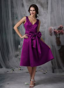 Bowknot V-neck Ruching Tea-length Quinceanera Damas Dress