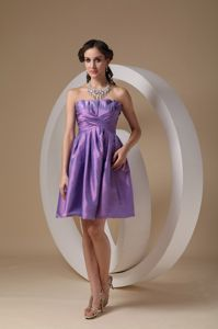 Ruffled Neck Strapless Ruched Lavender Mini-length Dama Dresses