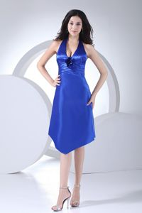 Taffeta Halter Top Ruched Royal Blue Dama Gown with Flowers