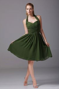 Cool Back Halter Olive Green Ruched Chiffon 15 Dresses for Damas