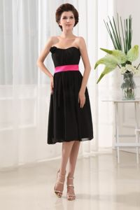 Tea-length Ruched Strapless Pink Belt Chiffon Quince Dama Dress