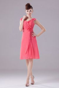 Straps Ruched Handmade Flower Short Watermelon Dress for Dama