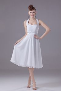 Halter Top Backless Chiffon Tea-length White Prom Dress for Dama