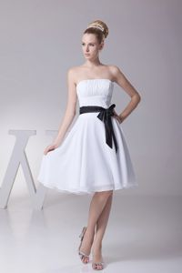 Ribbons Strapless Ruched White Chiffon Quinceanera Dama Dress