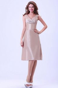Zipper Up V-neck Champagne Satin Short Formal Dresses for Dama