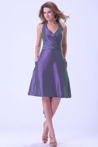 Backless Halter Big Bowknot Ruched Purple Taffeta Dama Dresses