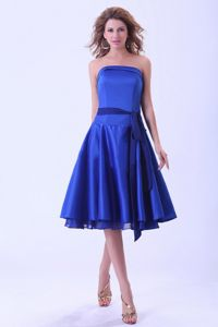 Layers Sash Strapless Royal Blue Satin Tea-length Quince Dama Gown