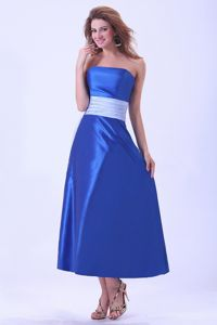 Taffeta Strapless Sash Tea-length Royal Blue Dama Quinceanera Dress