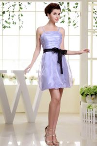 Black Sash Straps Ruched Short Lilac Quinceanera Dama Dresses