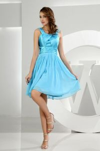 Baby Blue Straps Ruched Chiffon Knee-length Quince Dama Dresses