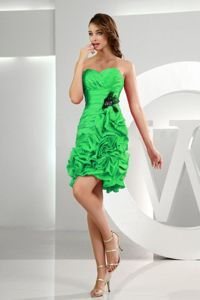 Ruffled Sweetheart Pick-ups Ruched Spring Green Dress for Damas