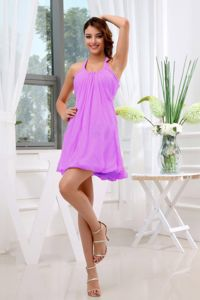 Halter Top Cool Back Ruched Chiffon Short Lavender Dama Dress