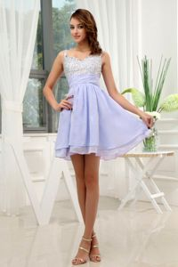 Beading Straps Lilac Chiffon Mini-length Dama Dress for Quinceaneras