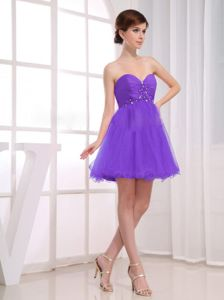 Sweetheart Beading Ruched Purple Layers Tulle Short Dama Dress