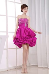 Pick Ups Strapless Beading Fuchsia Short 15 Dresses for Damas