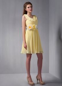 Straps Ruched Hand Made Flower Mini-length Yellow Dama Dress