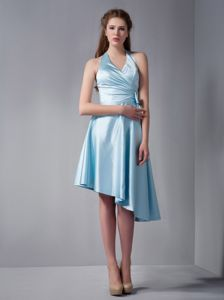 Sky Blue A-line Halter Asymmetrical Skirt and Ruching Party Dama Dresses