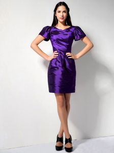 Purple Column V-neck with Short Sleeves and Ruche Dresses for Damas