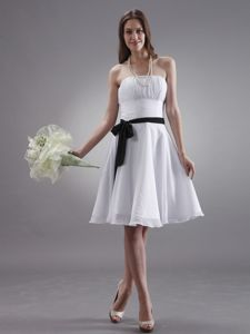 Black Sash Dama Dress for Quinceaneras in White Made in Chiffon