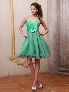 Green Sweetheart Beaded and Handle Flower Cocktail Dresses for Dama