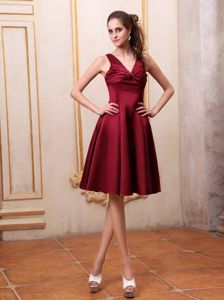 Straps with Ruching Bust 15 Dresses for Damas in Burgundy to Knee