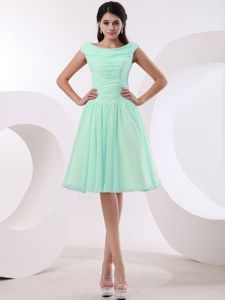 Bateau Dama Dress for Quinceaneras with Ruched Bodice in Apple Green