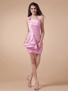 Halter and Ruching for 2013 Dama Dresses with Rose Pink and Mini-length