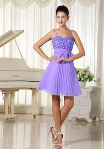 Spaghetti Straps Beaded Bowknot Purple with Damas Dresses for Quince
