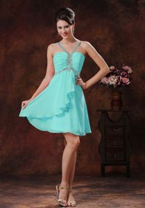 Baby Blue Beading V-neck Short Dresses for Damas with Zipper Back