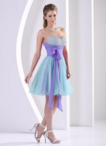 Beaded Decorated Sweetheart Multi-color Prom Dresses for Dama with Sash