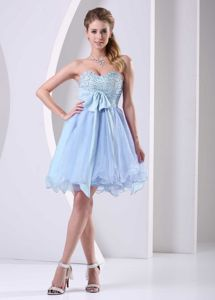 Light Blue Beaded Bust and Chiffon Sash Dress For 15 Dresses for Damas