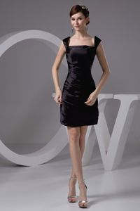 Square and Straps Ruched Mini Black 2013 Bridesmaid Dama Dresses