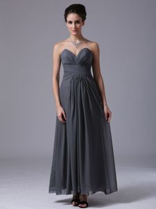 Grey Sweetheart and Ruching Sash 15 Dresses for Damas to Ankle-length